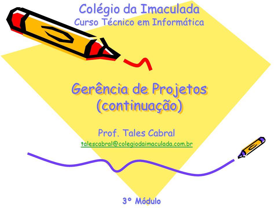 Gerência de Projetos (continuação) Prof. Tales Cabral talescabral@colegiodaimaculada.com.br Colégio da Imaculada Curso Técnico em Informática 3º Módul