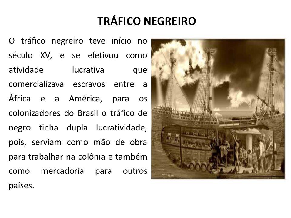 TRÁFICO NEGREIRO O tráfico negreiro teve início no século XV, e se efetivou como atividade lucrativa que comercializava escravos entre a África e a Am