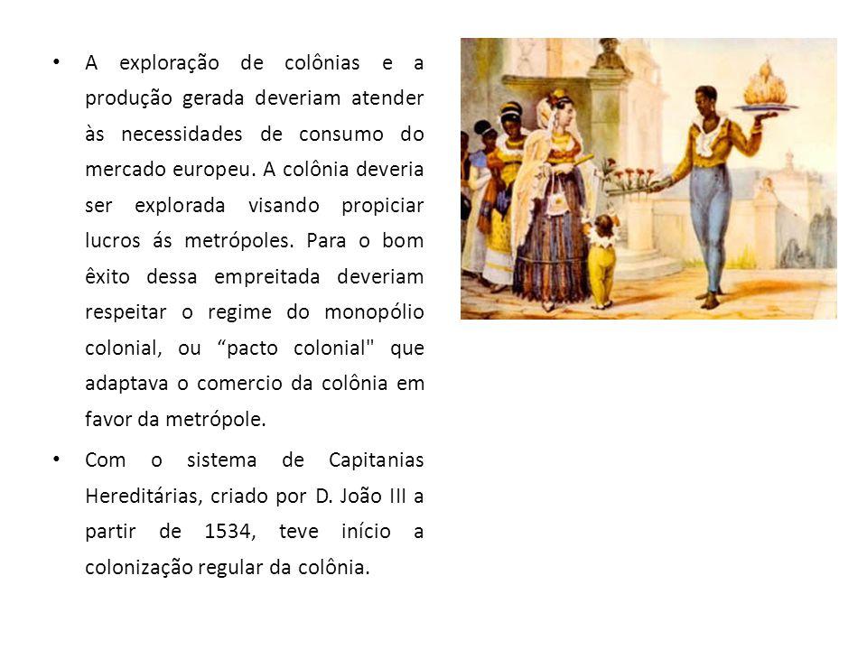 • A exploração de colônias e a produção gerada deveriam atender às necessidades de consumo do mercado europeu. A colônia deveria ser explorada visando