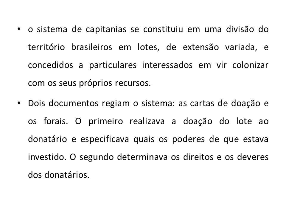 • o sistema de capitanias se constituiu em uma divisão do território brasileiros em lotes, de extensão variada, e concedidos a particulares interessad
