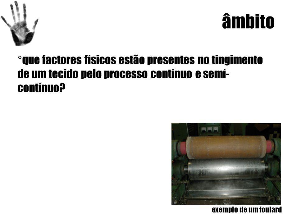 âmbito ° que factores físicos estão presentes no tingimento de um tecido pelo processo contínuo e semí- contínuo.
