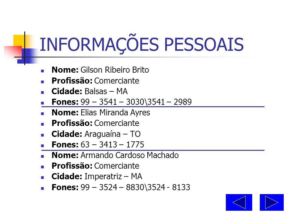 """DOCUMENTOS PESSOAIS  RG: 129.834 SSP-TO  CIC: Favor nos consultar  CNH: 01053264-1 CAT """"B""""  CORE-TO Nº: 2-154"""