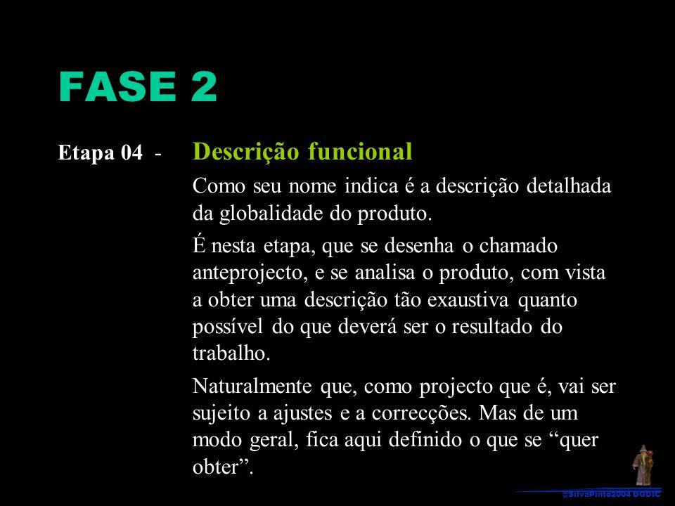 FASE 2 Etapa 04 - Descrição funcional Como seu nome indica é a descrição detalhada da globalidade do produto. É nesta etapa, que se desenha o chamado