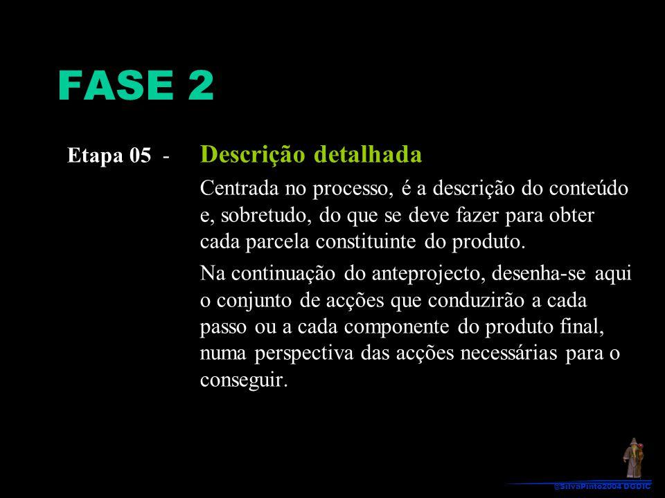 Etapa 05 - Descrição detalhada Centrada no processo, é a descrição do conteúdo e, sobretudo, do que se deve fazer para obter cada parcela constituinte