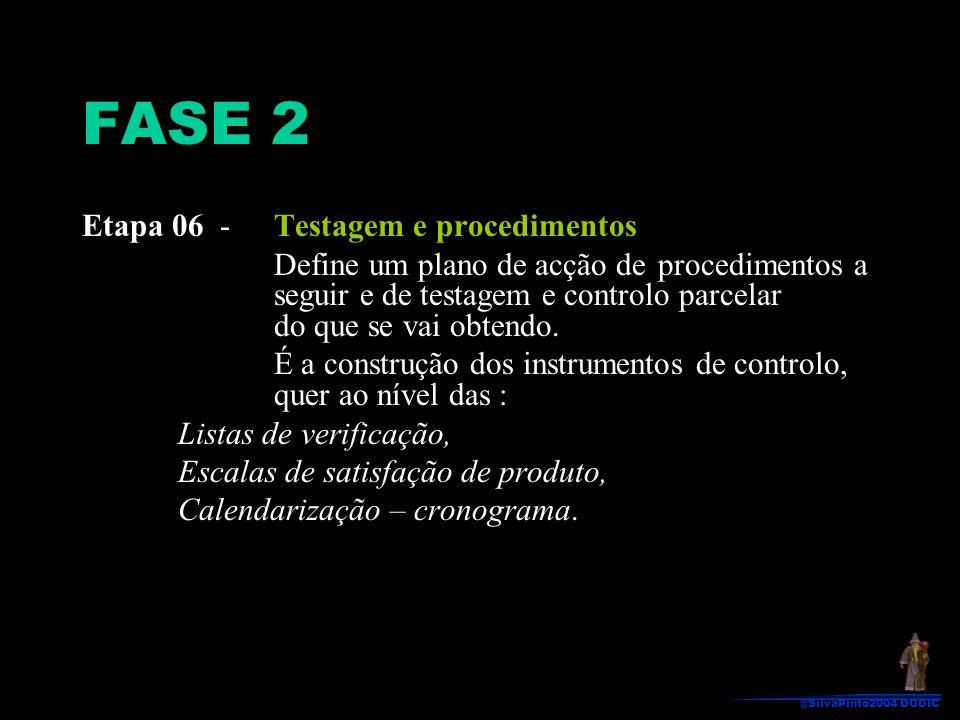 Etapa 06 - Testagem e procedimentos Define um plano de acção de procedimentos a seguir e de testagem e controlo parcelar do que se vai obtendo. É a co