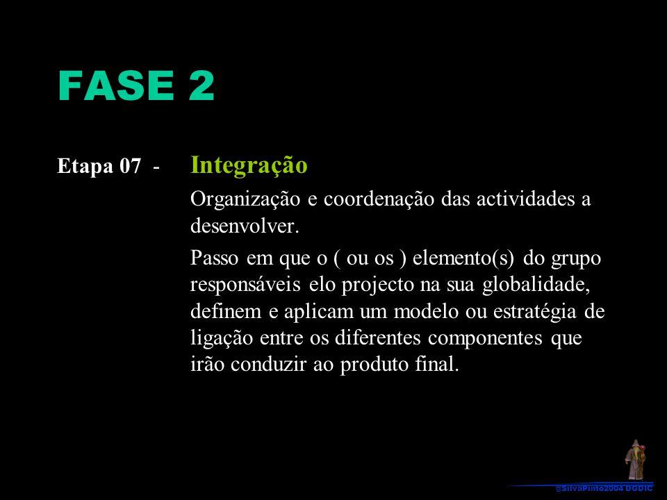 Etapa 07 - Integração Organização e coordenação das actividades a desenvolver. Passo em que o ( ou os ) elemento(s) do grupo responsáveis elo projecto