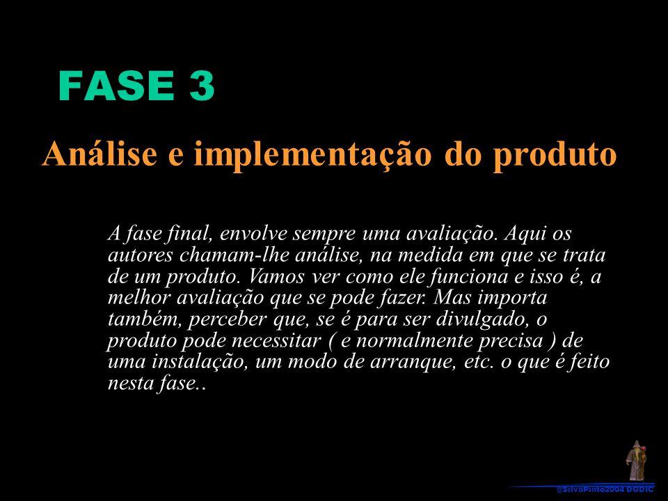 Análise e implementação do produto A fase final, envolve sempre uma avaliação. Aqui os autores chamam-lhe análise, na medida em que se trata de um pro