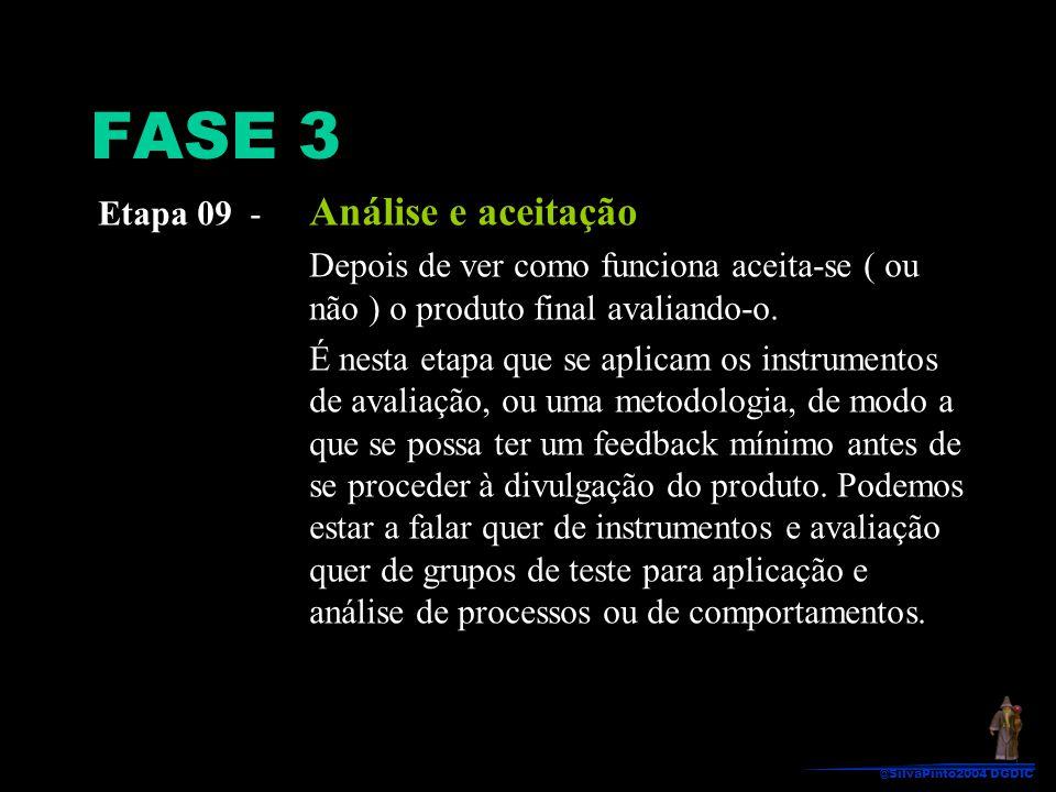FASE 3 Etapa 09 - Análise e aceitação Depois de ver como funciona aceita-se ( ou não ) o produto final avaliando-o. É nesta etapa que se aplicam os in