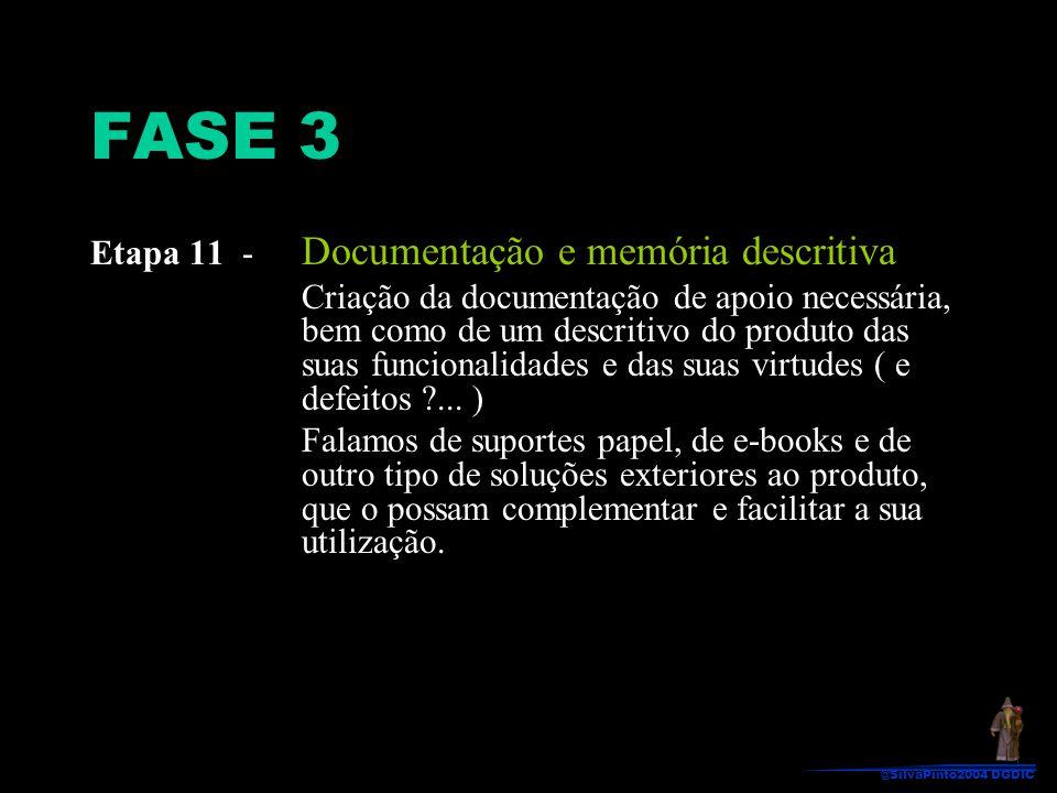 Etapa 11 - Documentação e memória descritiva Criação da documentação de apoio necessária, bem como de um descritivo do produto das suas funcionalidade