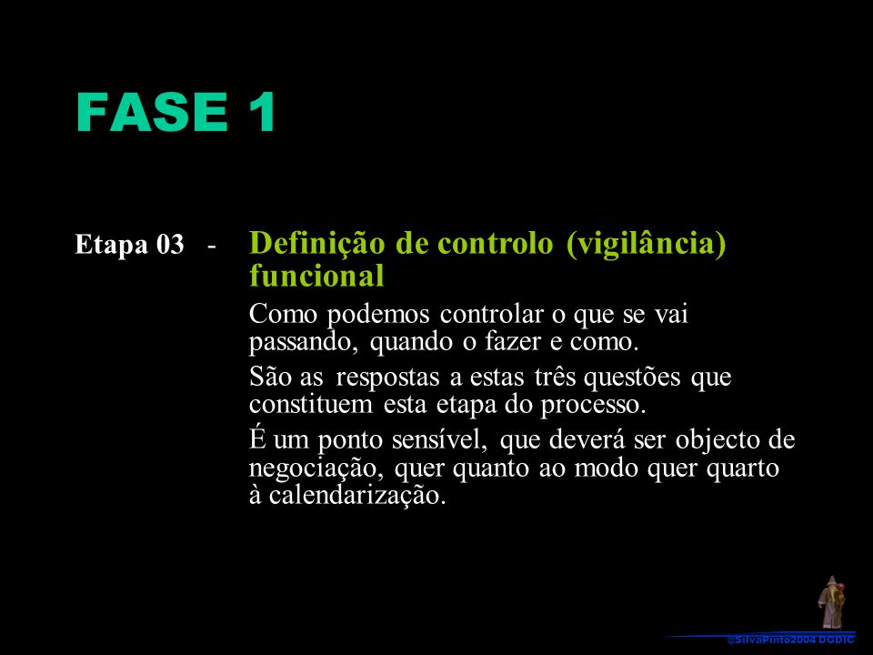 Etapa 03 - Definição de controlo (vigilância) funcional Como podemos controlar o que se vai passando, quando o fazer e como. São as respostas a estas