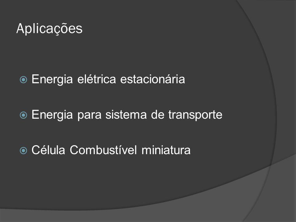 Aplicações  Energia elétrica estacionária  Energia para sistema de transporte  Célula Combustível miniatura