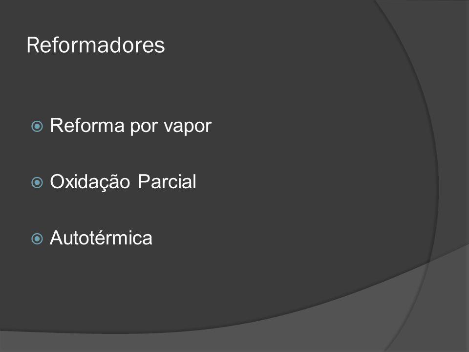Reformadores  Reforma por vapor  Oxidação Parcial  Autotérmica