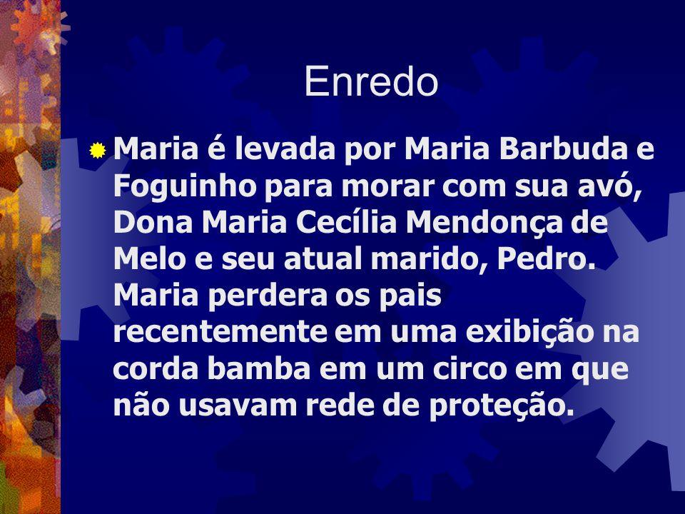 Enredo  Maria é levada por Maria Barbuda e Foguinho para morar com sua avó, Dona Maria Cecília Mendonça de Melo e seu atual marido, Pedro.