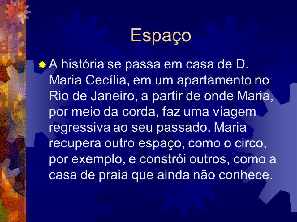 Espaço  A história se passa em casa de D. Maria Cecília, em um apartamento no Rio de Janeiro, a partir de onde Maria, por meio da corda, faz uma viag