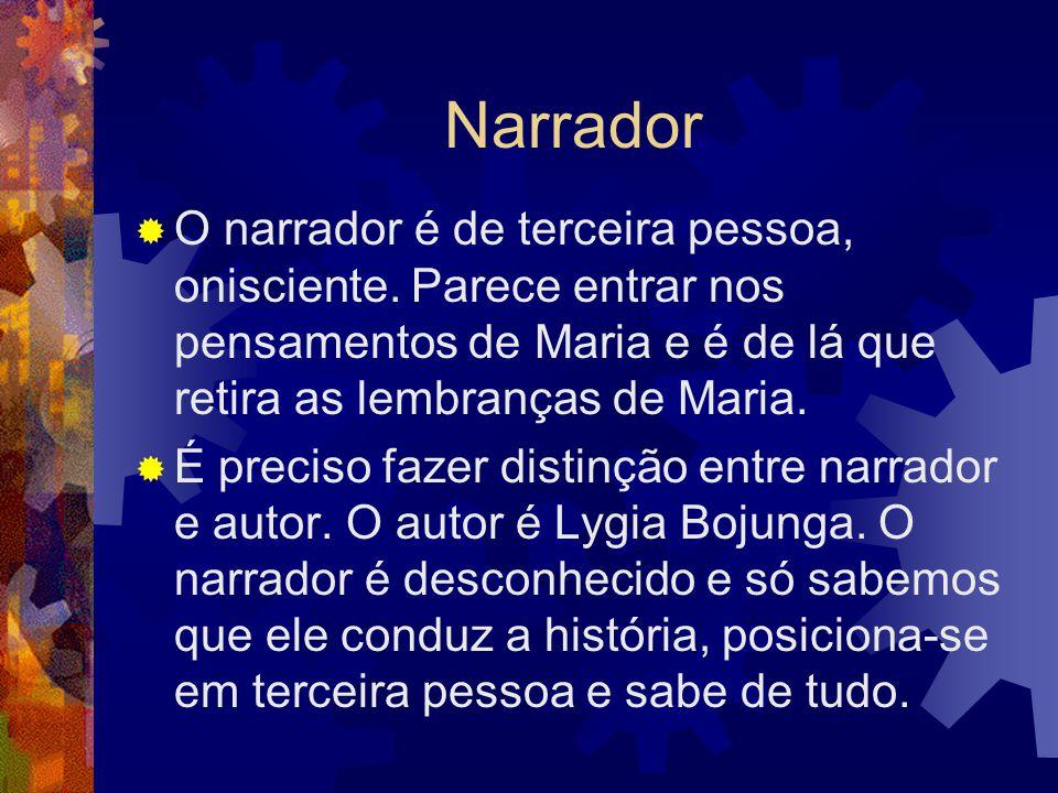 Narrador  O narrador é de terceira pessoa, onisciente. Parece entrar nos pensamentos de Maria e é de lá que retira as lembranças de Maria.  É precis
