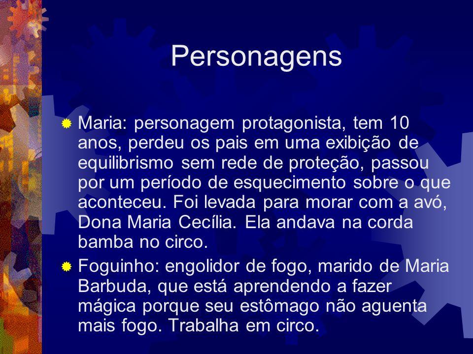 Personagens  Maria: personagem protagonista, tem 10 anos, perdeu os pais em uma exibição de equilibrismo sem rede de proteção, passou por um período