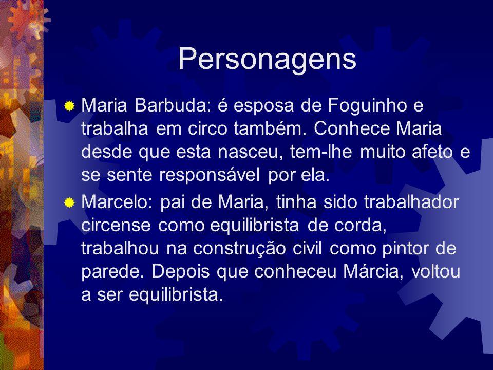 Personagens  Maria Barbuda: é esposa de Foguinho e trabalha em circo também. Conhece Maria desde que esta nasceu, tem-lhe muito afeto e se sente resp