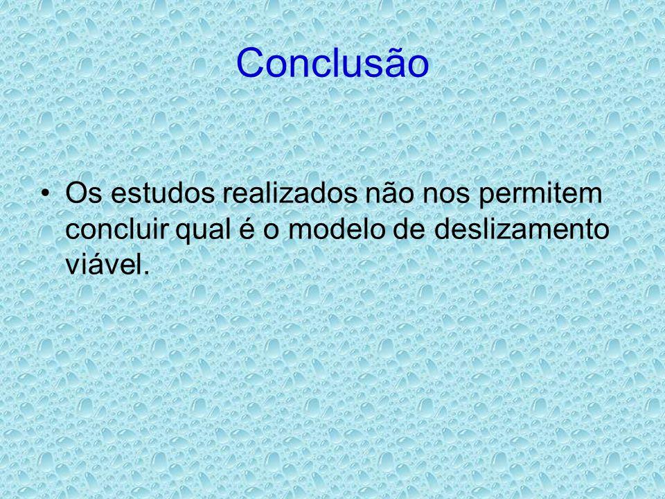 Conclusão •Os estudos realizados não nos permitem concluir qual é o modelo de deslizamento viável.