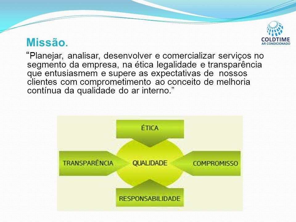"""Missão. """" Planejar, analisar, desenvolver e comercializar serviços no segmento da empresa, na ética legalidade e transparência que entusiasmem e super"""