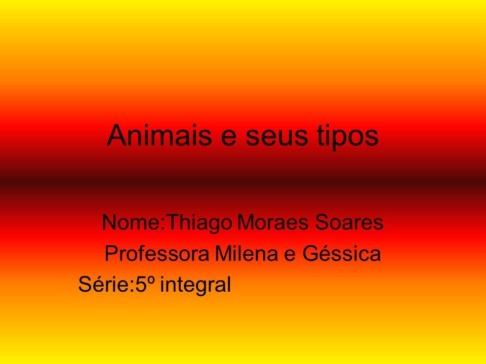 Animais e seus tipos Nome:Thiago Moraes Soares Professora Milena e Géssica Série:5º integral
