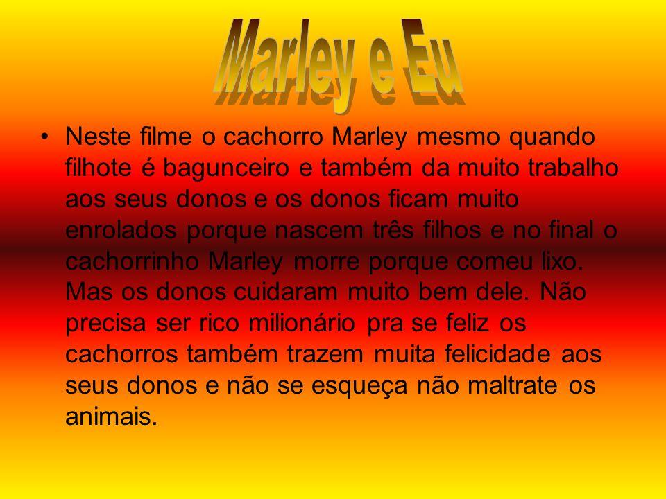 •Neste filme o cachorro Marley mesmo quando filhote é bagunceiro e também da muito trabalho aos seus donos e os donos ficam muito enrolados porque nascem três filhos e no final o cachorrinho Marley morre porque comeu lixo.