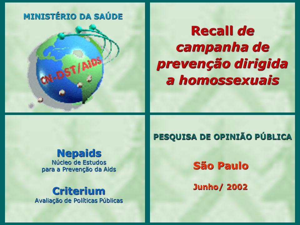 Junho/ 2002 Nepaids Núcleo de Estudos para a Prevenção da Aids Criterium Avaliação de Políticas Públicas PESQUISA DE OPINIÃO PÚBLICA PESQUISA DE OPINI