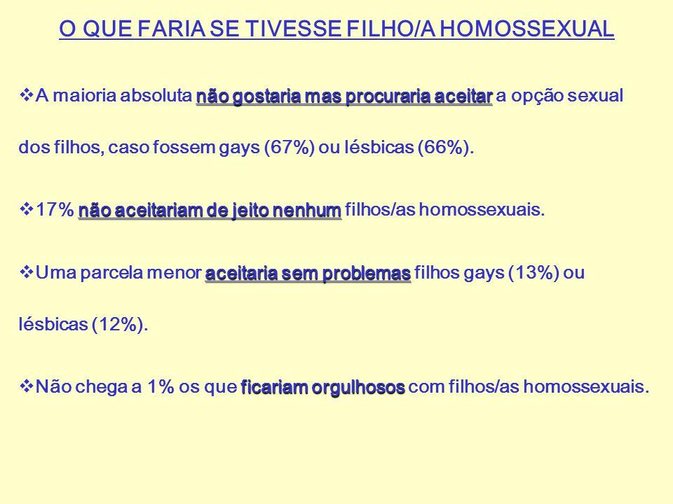 O QUE FARIA SE TIVESSE FILHO/A HOMOSSEXUAL não gostaria mas procuraria aceitar  A maioria absoluta não gostaria mas procuraria aceitar a opção sexual