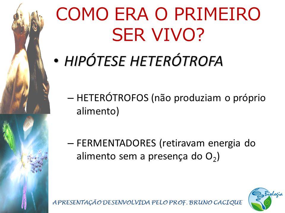 COMO ERA O PRIMEIRO SER VIVO? • HIPÓTESE HETERÓTROFA – HETERÓTROFOS (não produziam o próprio alimento) – FERMENTADORES (retiravam energia do alimento