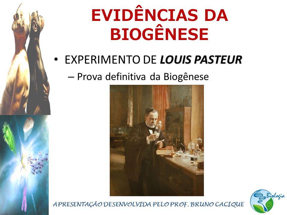 EVIDÊNCIAS DA BIOGÊNESE LOUIS PASTEUR • EXPERIMENTO DE LOUIS PASTEUR – Prova definitiva da Biogênese APRESENTAÇÃO DESENVOLVIDA PELO PROF. BRUNO CACIQU