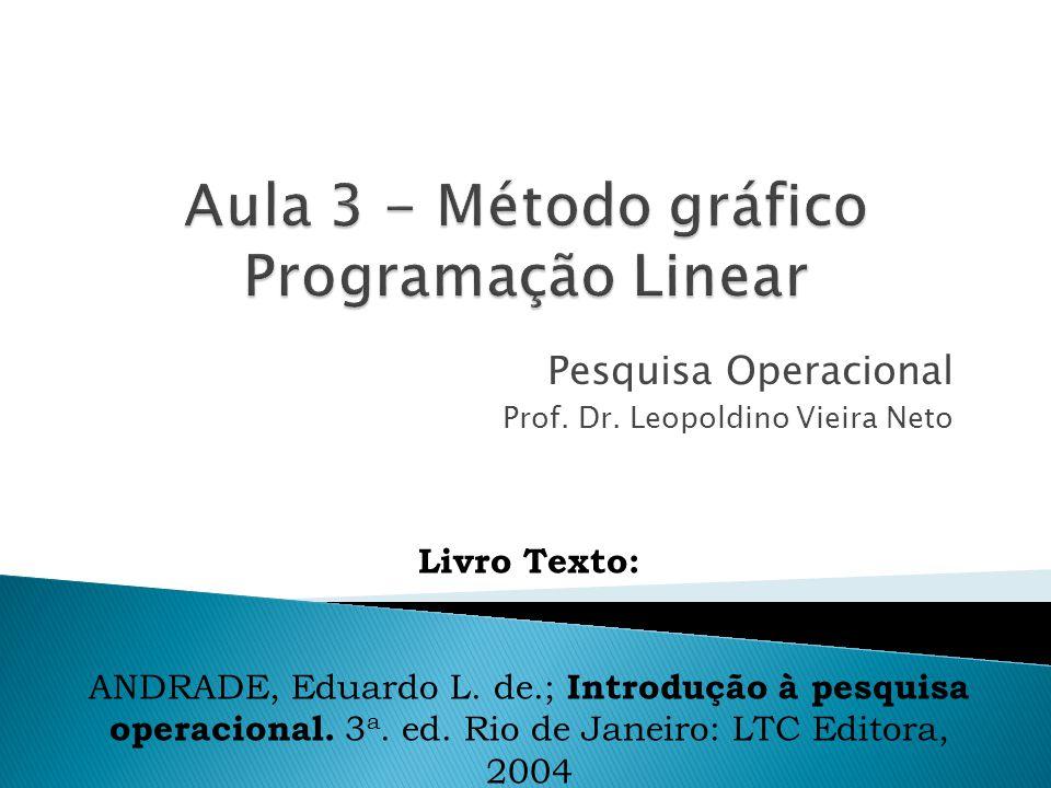 Pesquisa Operacional Prof. Dr. Leopoldino Vieira Neto Livro Texto: ANDRADE, Eduardo L. de.; Introdução à pesquisa operacional. 3 a. ed. Rio de Janeiro