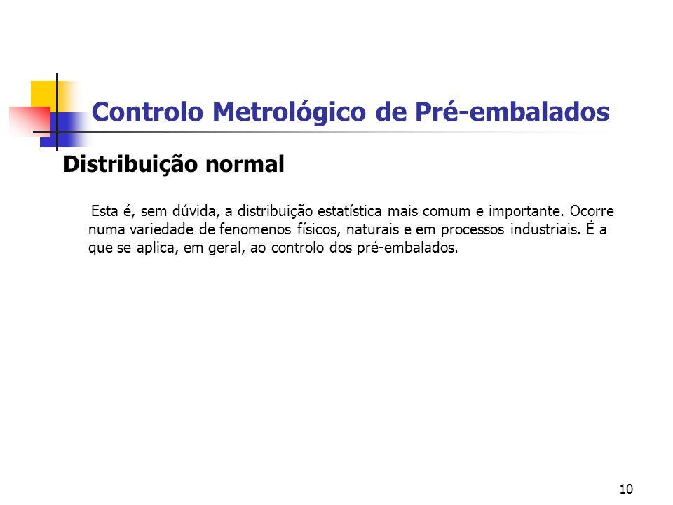 10 Controlo Metrológico de Pré-embalados Distribuição normal Esta é, sem dúvida, a distribuição estatística mais comum e importante. Ocorre numa varie