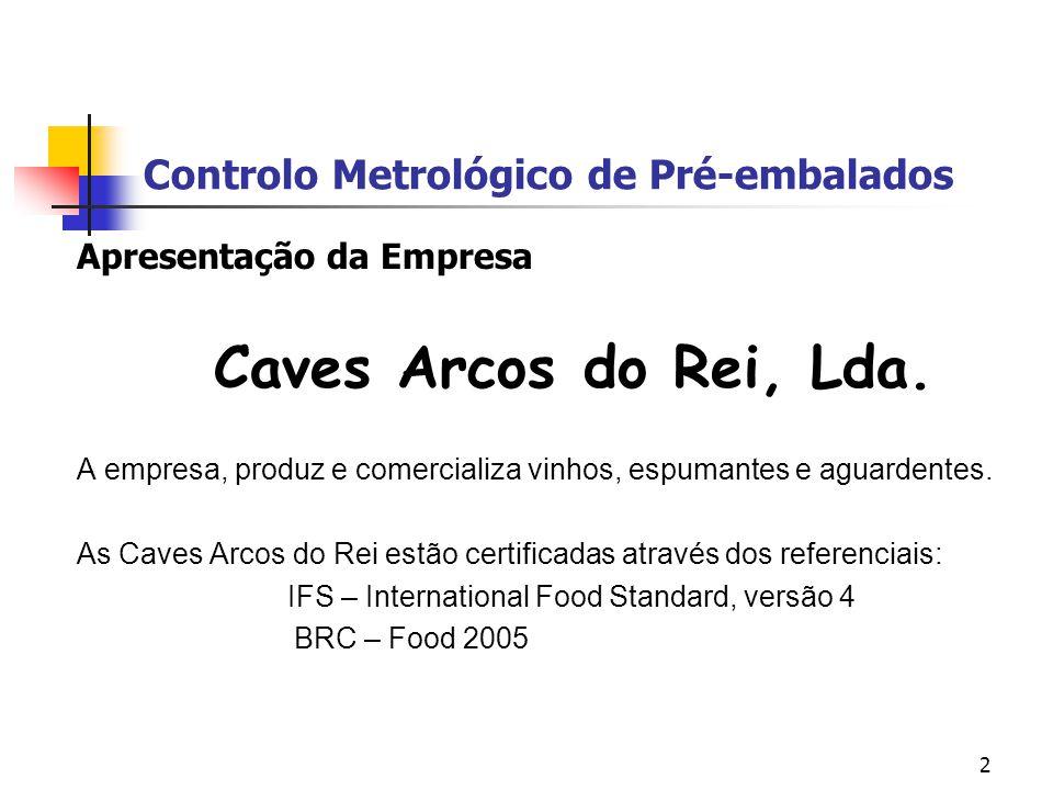 2 Controlo Metrológico de Pré-embalados Apresentação da Empresa Caves Arcos do Rei, Lda. A empresa, produz e comercializa vinhos, espumantes e aguarde