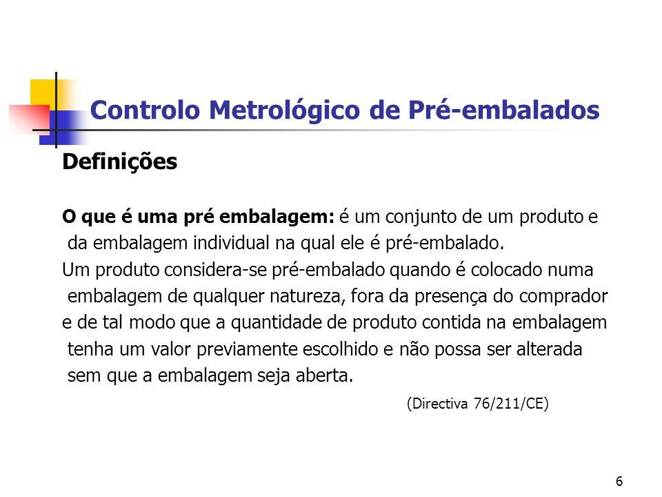 6 Controlo Metrológico de Pré-embalados Definições O que é uma pré embalagem: é um conjunto de um produto e da embalagem individual na qual ele é pré-