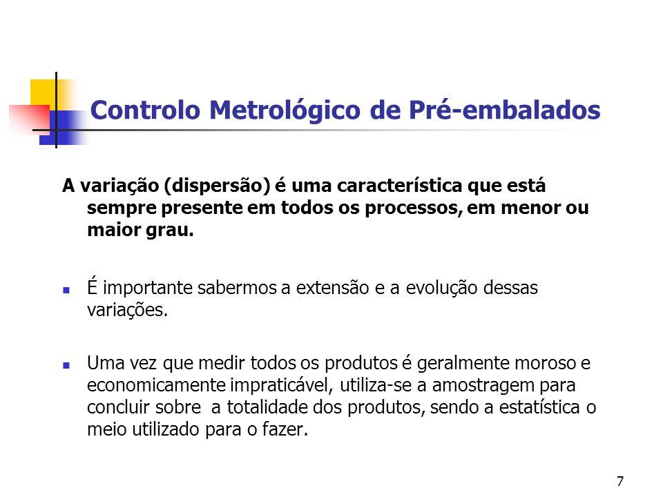 7 Controlo Metrológico de Pré-embalados A variação (dispersão) é uma característica que está sempre presente em todos os processos, em menor ou maior