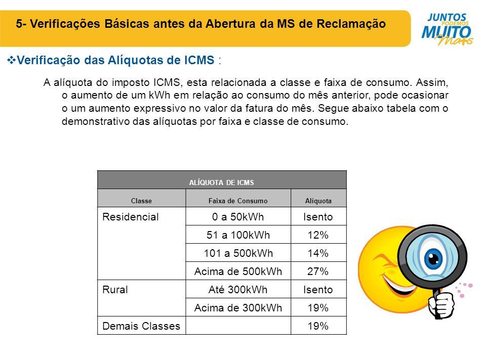  Verificação das Alíquotas de ICMS : 5- Verificações Básicas antes da Abertura da MS de Reclamação A alíquota do imposto ICMS, esta relacionada a classe e faixa de consumo.