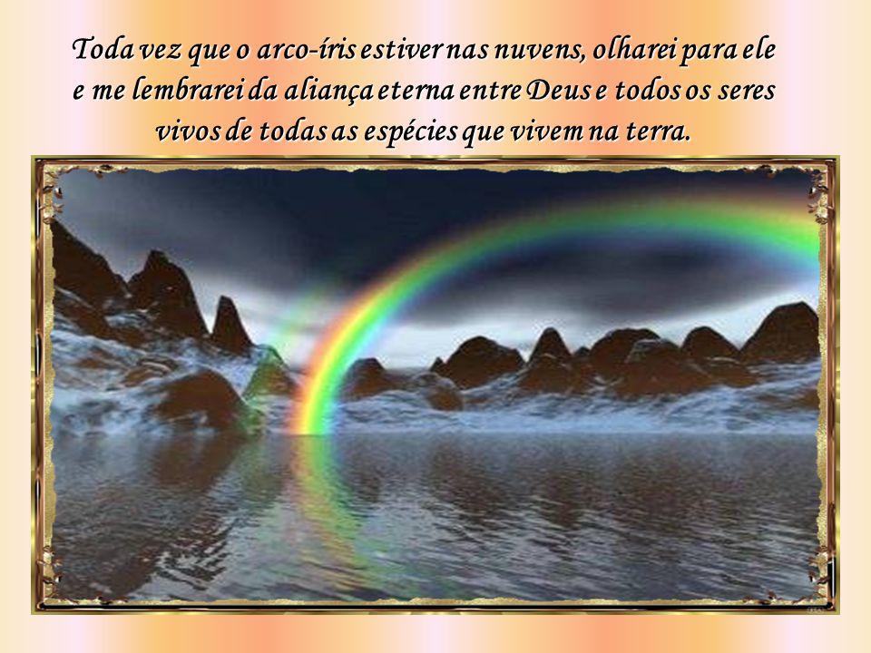 Toda vez que o arco-íris estiver nas nuvens, olharei para ele e me lembrarei da aliança eterna entre Deus e todos os seres vivos de todas as espécies que vivem na terra.