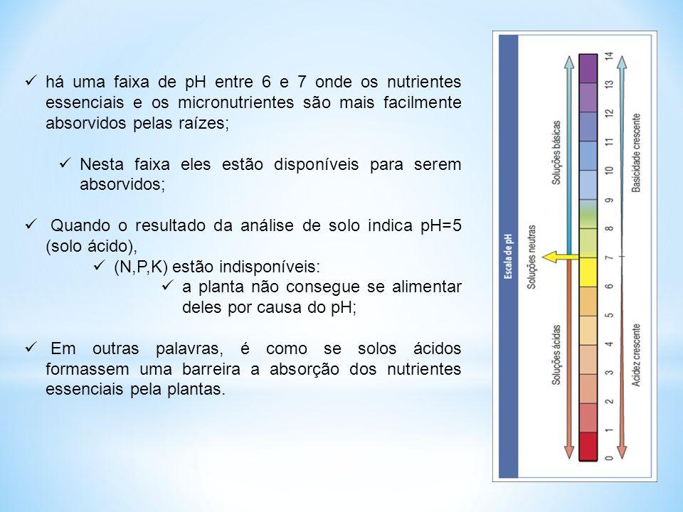  há uma faixa de pH entre 6 e 7 onde os nutrientes essenciais e os micronutrientes são mais facilmente absorvidos pelas raízes;  Nesta faixa eles es