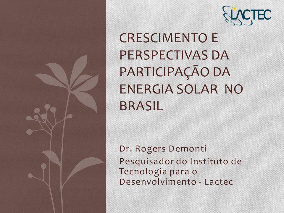Dr. Rogers Demonti Pesquisador do Instituto de Tecnologia para o Desenvolvimento - Lactec CRESCIMENTO E PERSPECTIVAS DA PARTICIPAÇÃO DA ENERGIA SOLAR