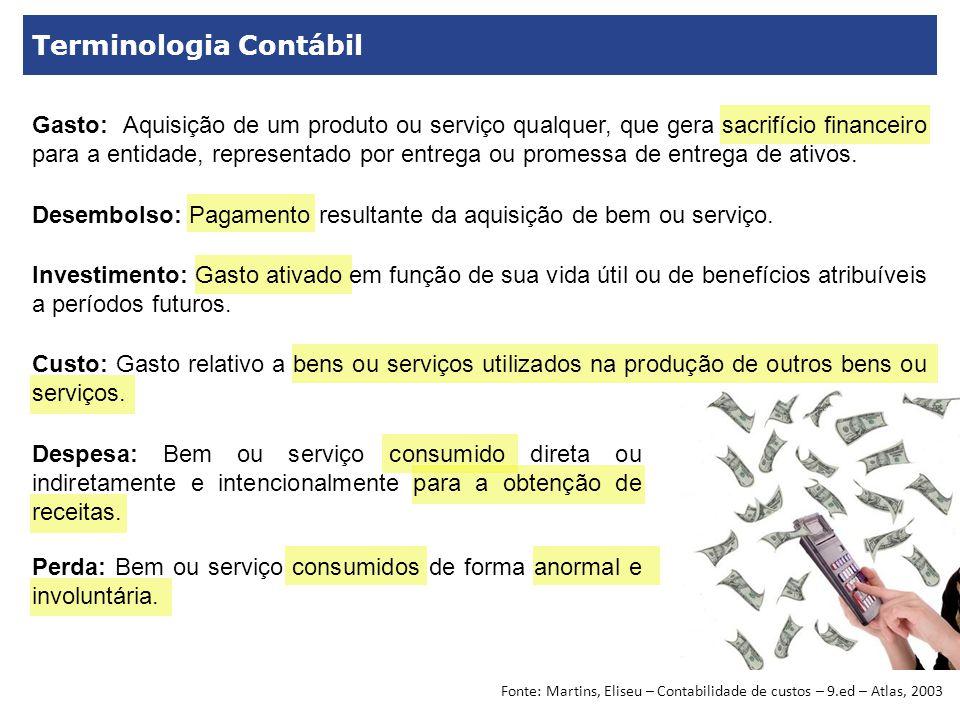 Terminologia Contábil Gasto: Aquisição de um produto ou serviço qualquer, que gera sacrifício financeiro para a entidade, representado por entrega ou promessa de entrega de ativos.