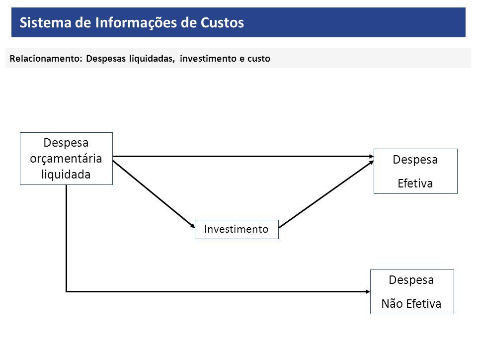 Relacionamento: Despesas liquidadas, investimento e custo Despesa orçamentária liquidada Investimento Despesa Efetiva Despesa Não Efetiva Sistema de Informações de Custos
