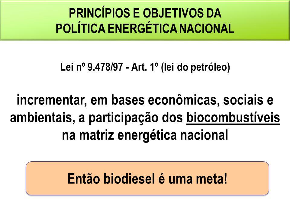 PRINCÍPIOS E OBJETIVOS DA POLÍTICA ENERGÉTICA NACIONAL Lei nº 9.478/97 - Art.