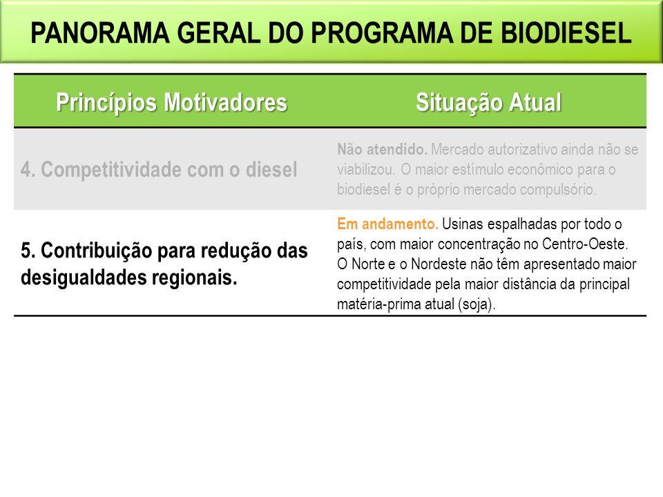 PANORAMA GERAL DO PROGRAMA DE BIODIESEL Princípios Motivadores Situação Atual 4.