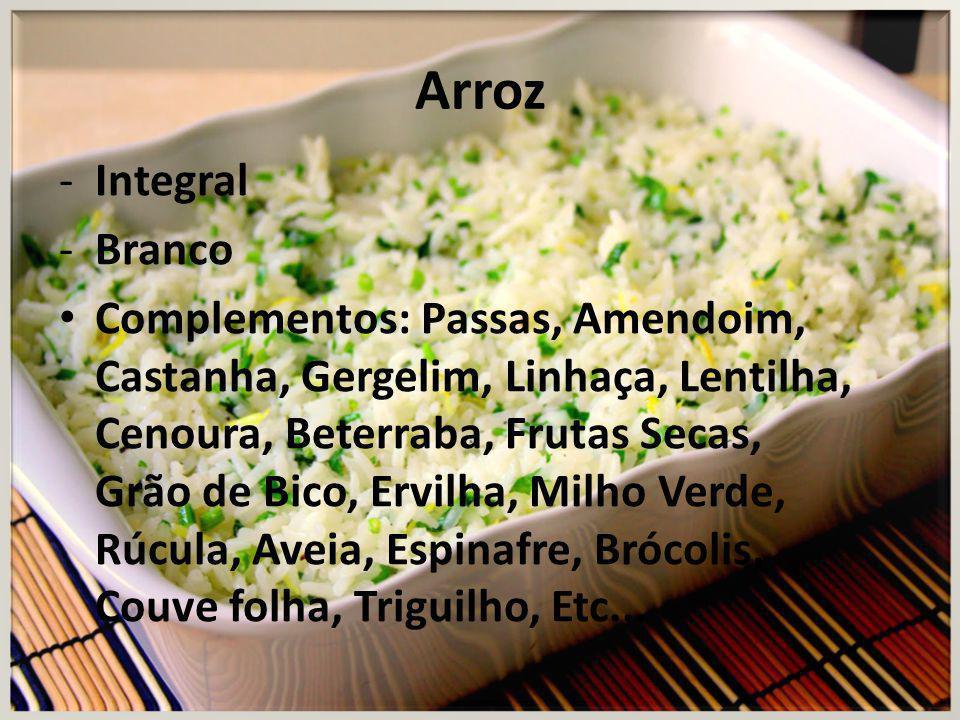 Guarnições - Macarrão Integral e Simples: Ao sugo,molho Bechamel, Queijo,alho e azeite,refogado com legumes.