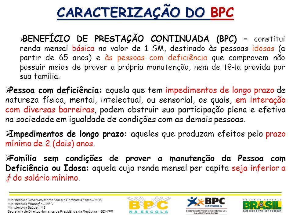 BENEFÍCIO DE PRESTAÇÃO CONTINUADA DA ASSISTÊNCIA SOCIAL - BPC (Lei nº 8.742, de 07/12/1993, alterada pela Lei nº 12.435, de 06/07/2011) Ministério do