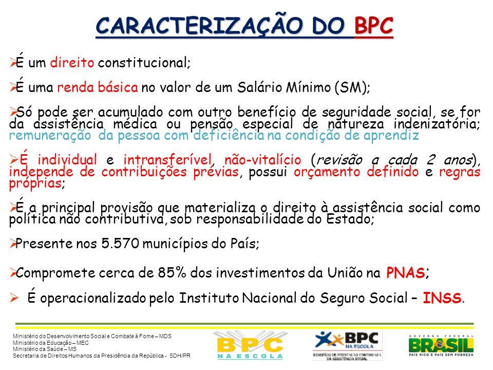 CARACTERIZAÇÃO DO BPC  BENEFÍCIO DE PRESTAÇÃO CONTINUADA (BPC) – constitui renda mensal básica no valor de 1 SM, destinado às pessoas idosas (a parti
