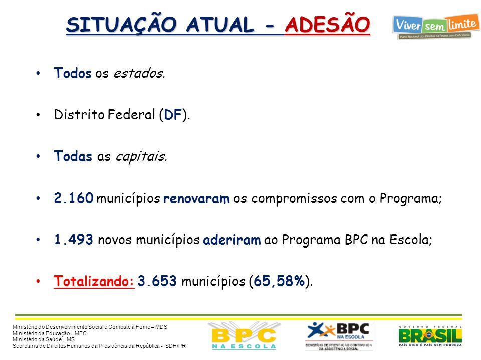 METAS - BPC NA ESCOLA 2014 Metas até 2014 :  Estimativa de 540 mil beneficiários de 0 a 18 anos até 2014: • 100% dos municípios com adesão ao Program