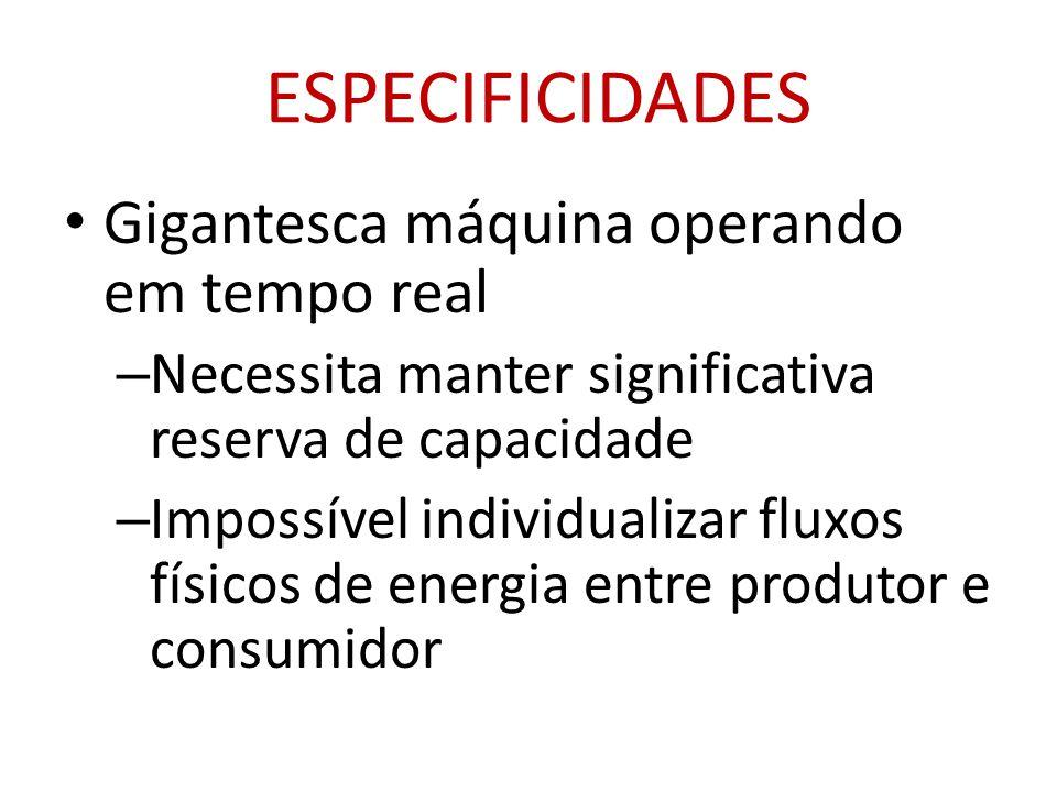 ESPECIFICIDADES • Gigantesca máquina operando em tempo real – Necessita manter significativa reserva de capacidade – Impossível individualizar fluxos físicos de energia entre produtor e consumidor