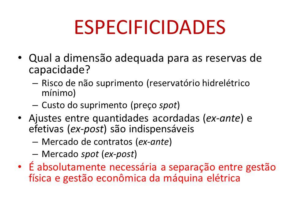 ESPECIFICIDADES • Qual a dimensão adequada para as reservas de capacidade.