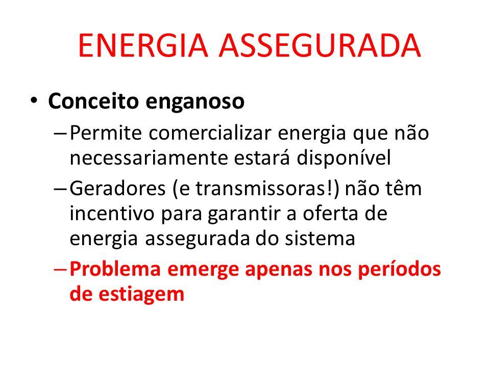 ENERGIA ASSEGURADA • Conceito enganoso – Permite comercializar energia que não necessariamente estará disponível – Geradores (e transmissoras!) não têm incentivo para garantir a oferta de energia assegurada do sistema – Problema emerge apenas nos períodos de estiagem