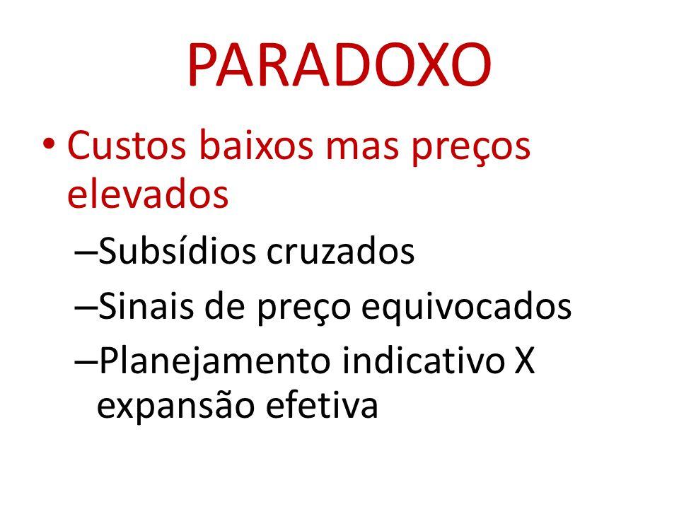PARADOXO • Custos baixos mas preços elevados – Subsídios cruzados – Sinais de preço equivocados – Planejamento indicativo X expansão efetiva